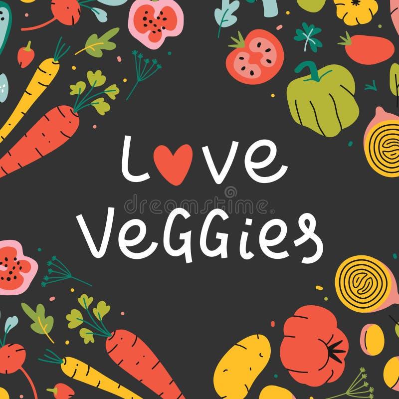 Modèle de cadre carré bordé pour votre texte avec illustrations de légumes vectoriels dessinées à la main illustration libre de droits