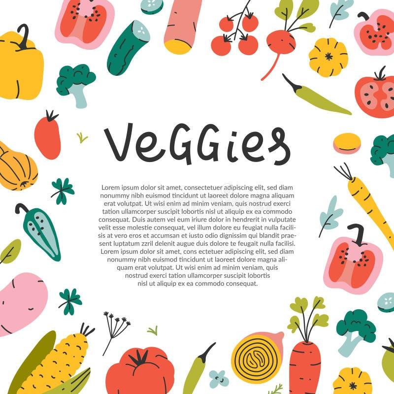 Modèle de cadre carré bordé pour votre texte avec illustrations de légumes vectoriels dessinées à la main illustration stock