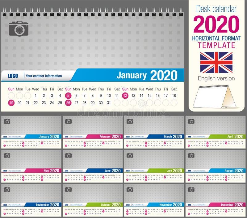 Modèle de calendrier triangle de bureau 2020 utile, avec espace pour placer une photo. Taille : X12 cm de 22 cm. Format horizonta illustration de vecteur