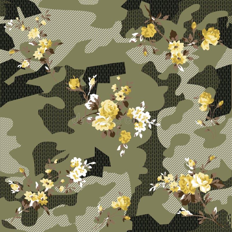 Modèle de camouflage et de fleurs SUR LA FLEUR illustration de vecteur