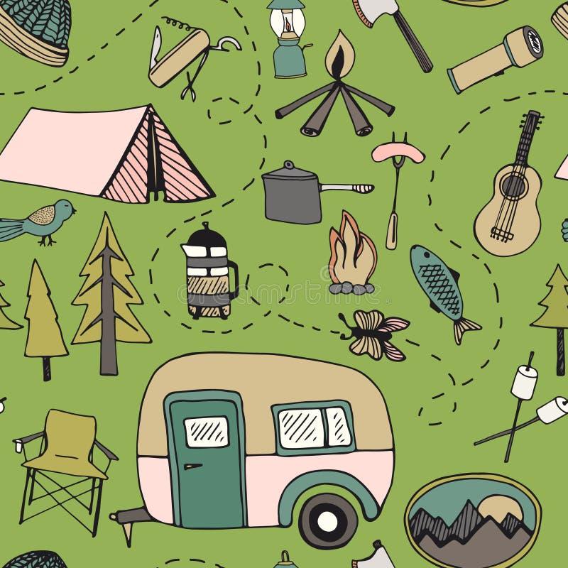 Modèle de camping illustration stock