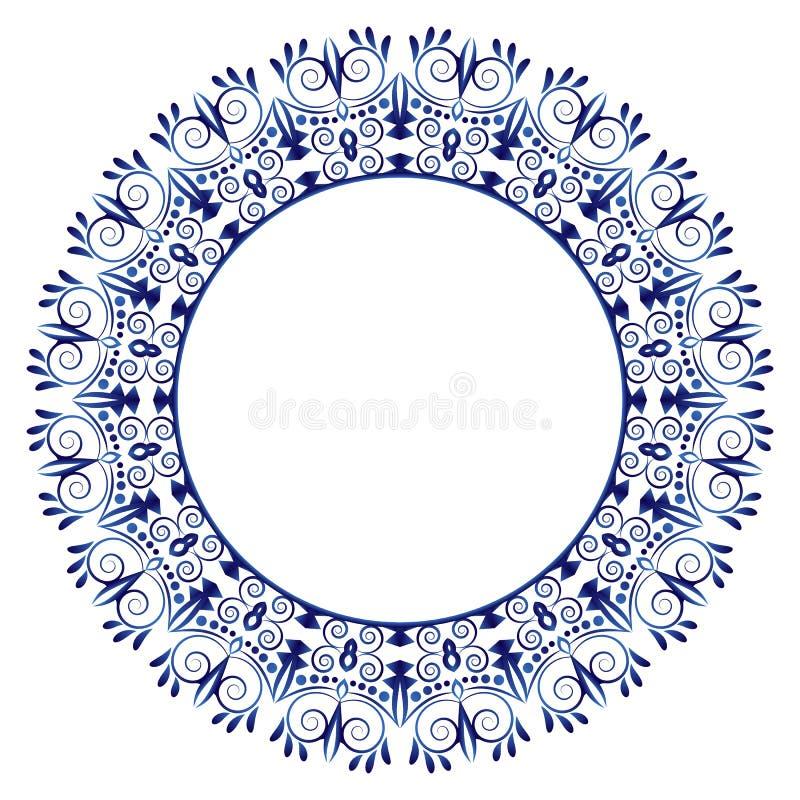 Modèle de carreau de céramique Ornement rond décoratif Backgroun blanc illustration stock