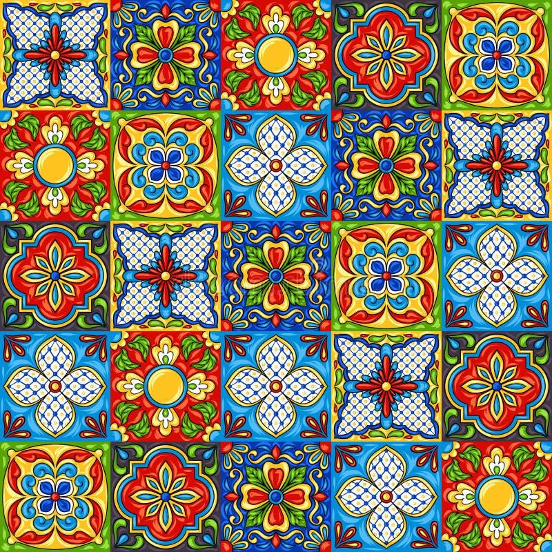 Modèle de carreau de céramique de talavera de Mexicain illustration libre de droits