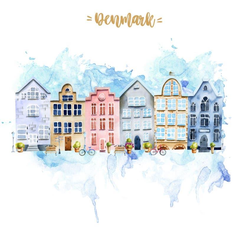 Modèle de carte avec maisons scandinaves, architecture nordique illustration stock