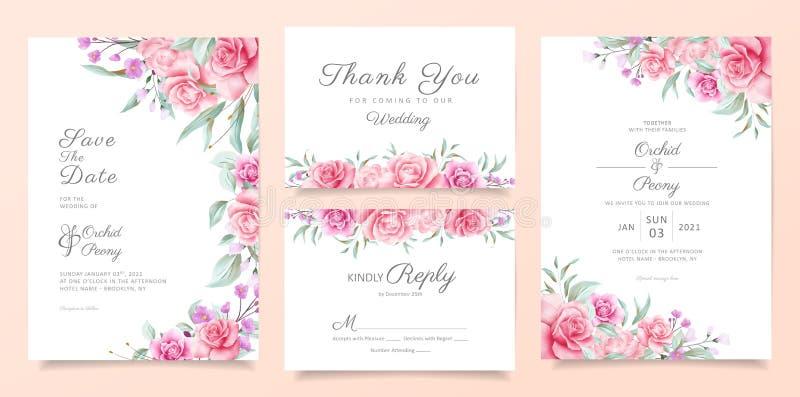Modèle de carte d'invitation à un mariage botanique avec fleurs d'aquarelle douce et décoration de feuilles. Carte de roses et  illustration stock