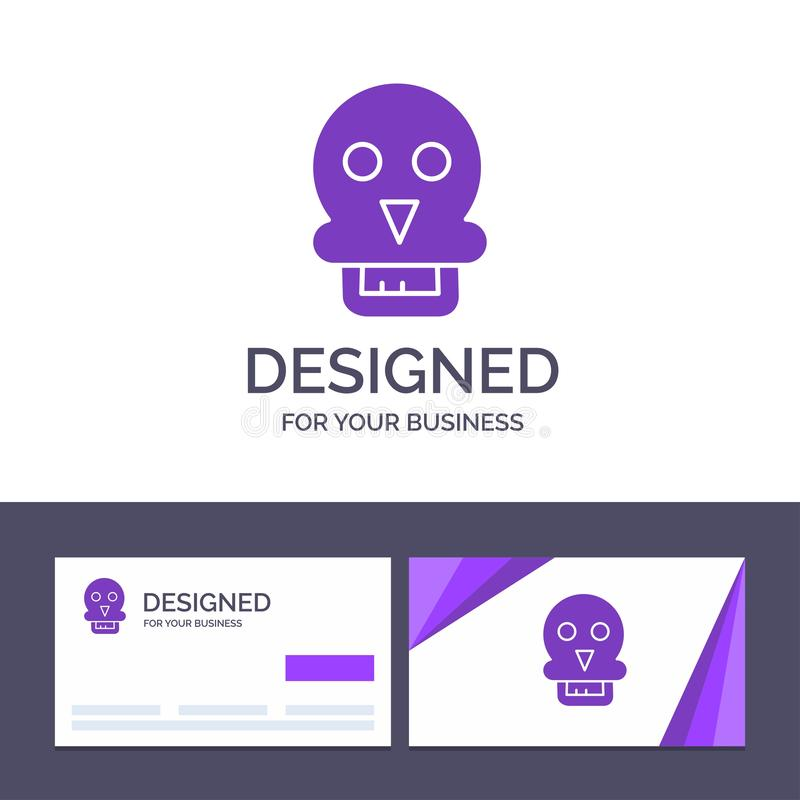 Modèle de carte de visite et de logo Creative Skull, Skull Death, Medical, Man Vector Illustration illustration stock
