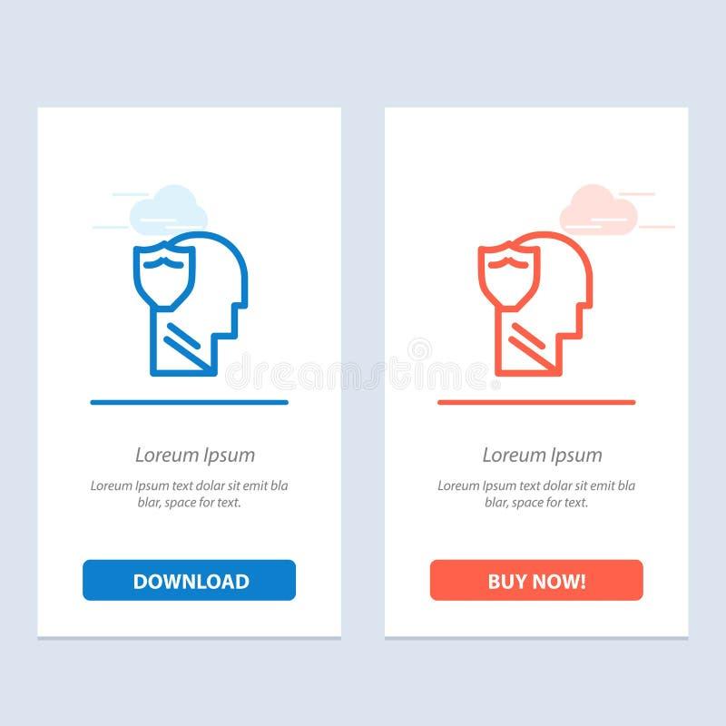 Modèle de carte Widget Web Shield, Secure, Male, User, Data Blue et Red Download et Acheter maintenant illustration de vecteur