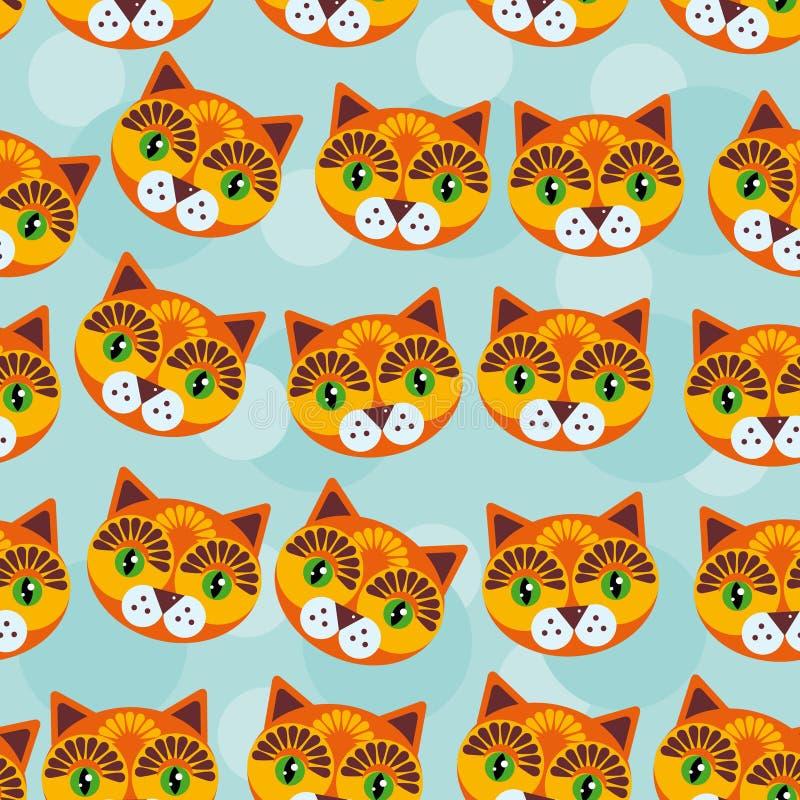 Modèle de Cat Seamless avec le visage animal mignon drôle sur un backg bleu illustration de vecteur
