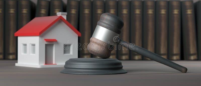 Modèle de Chambre et marteau de loi sur un bureau en bois, bannière illustration 3D illustration de vecteur