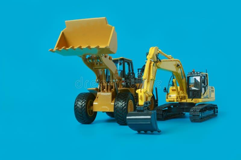 Modèle de chargeur d'excavatrice et de roue photos stock