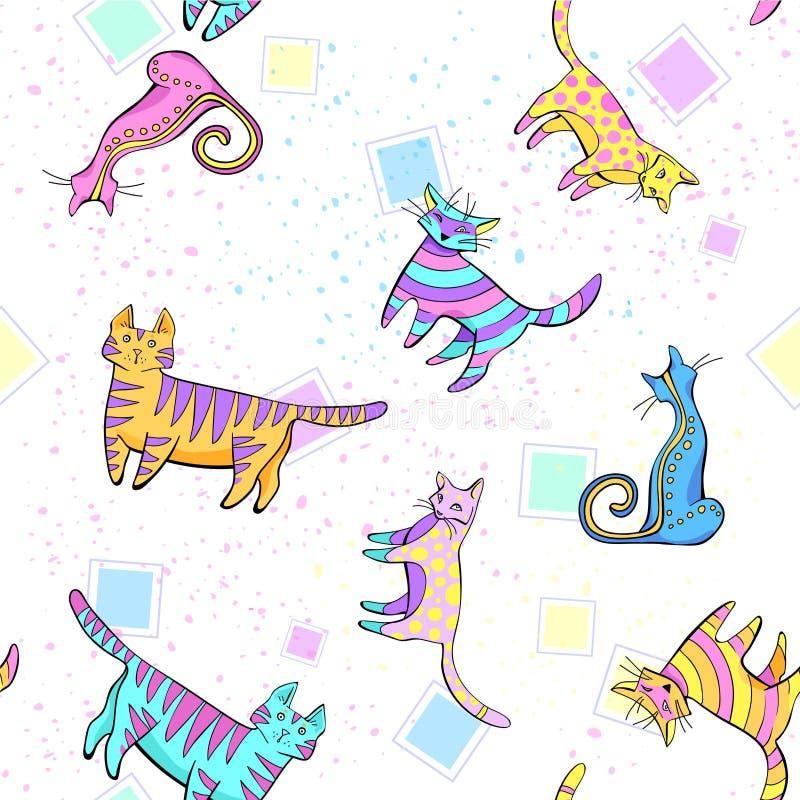 Modèle de chats wall-paper, groupe de différents chats sur un fond blanc dans différentes poses illustration de vecteur