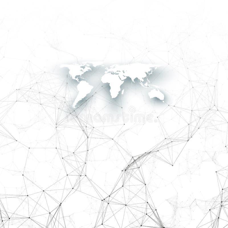 Modèle de chimie, carte blanche du monde, canalisations de raccordement et points, structure de molécule sur le blanc ADN médical illustration libre de droits