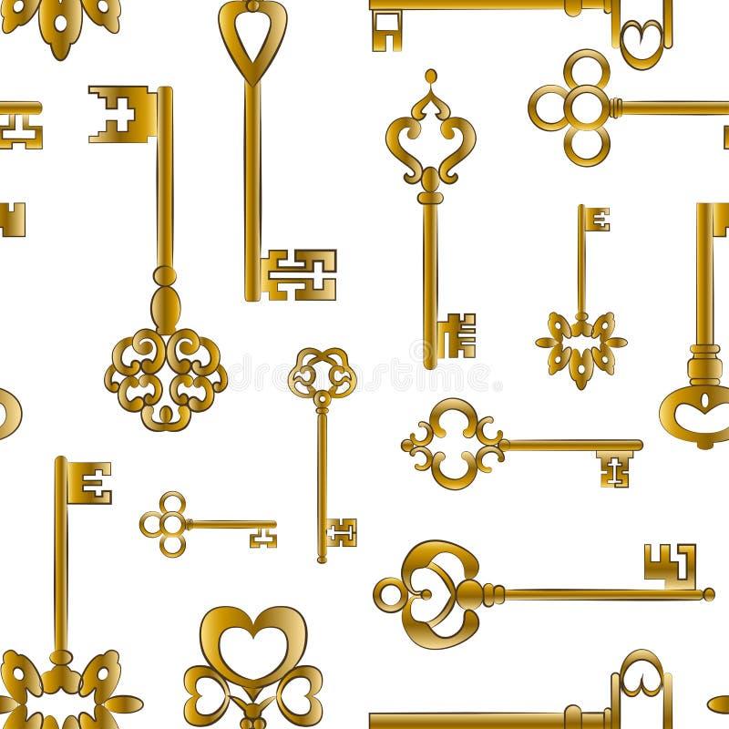 Modèle de clés médiéval ornemental de vintage illustration de vecteur