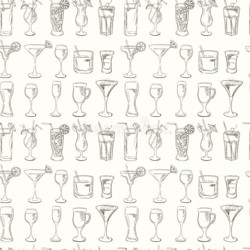 Modèle de cocktails Ensemble de vecteur de cocktails de croquis illustration de vecteur