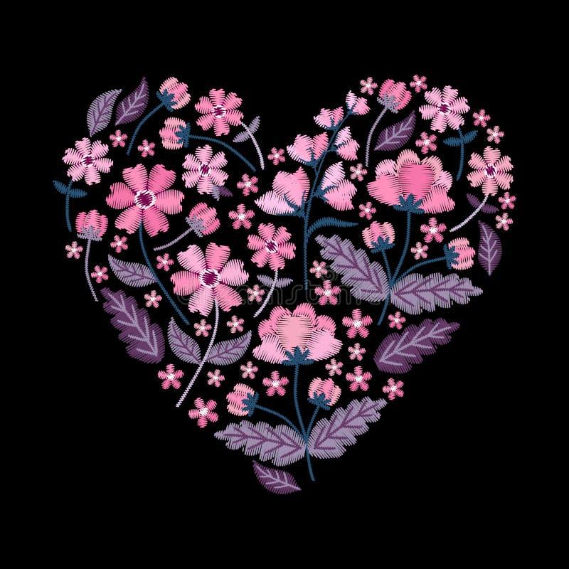 Modèle de coeur de broderie avec de belles fleurs roses Composition florale pour le jour de valentines sur le fond noir Vecteur illustration de vecteur