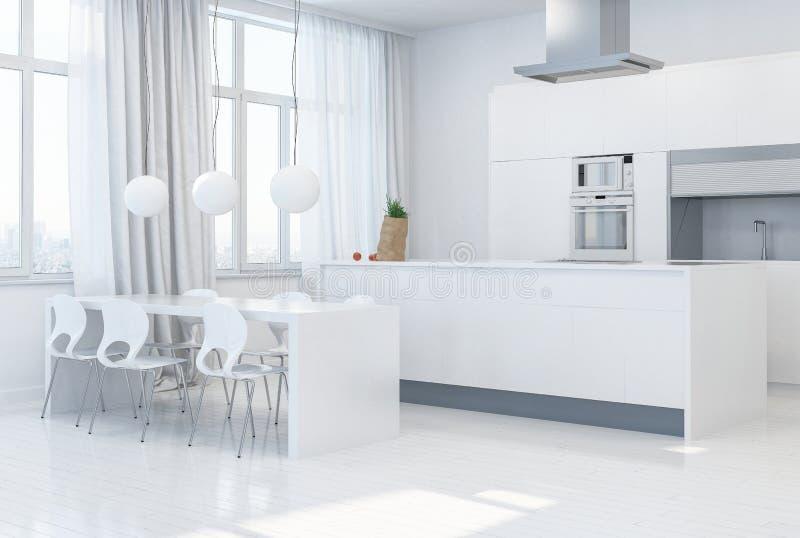 Modèle de concepteur d'une cuisine monochrome blanche illustration stock