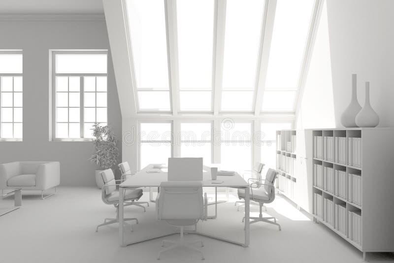 Modèle de conception intérieure de salle de conférence rendu 3d illustration de vecteur
