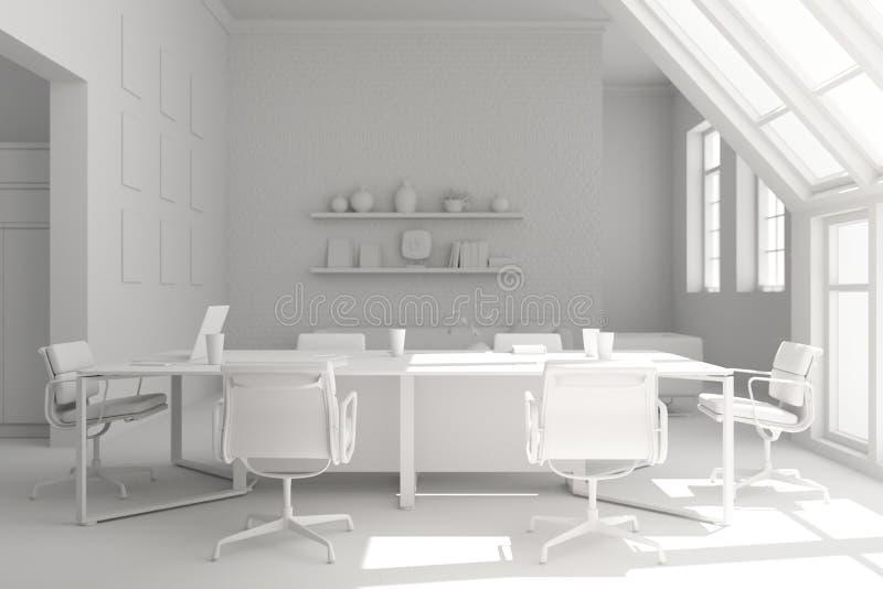 Modèle de conception intérieure de salle de conférence rendu 3d illustration stock