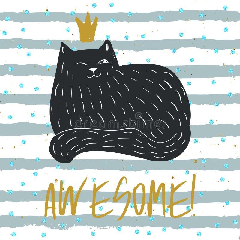 Modèle de conception de la carte de voeux pour chat Doodle Cute Tee-shirt Animal Personage Dessiné À La Main Les émotions amusant illustration de vecteur