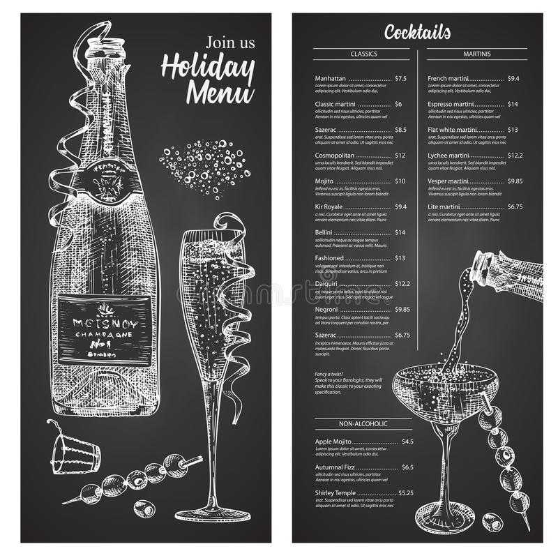 Modèle de conception de menu de la barre de cocktails dans un style rétro Isolé sur fond de tableau noir. Verre et bouteille à illustration stock