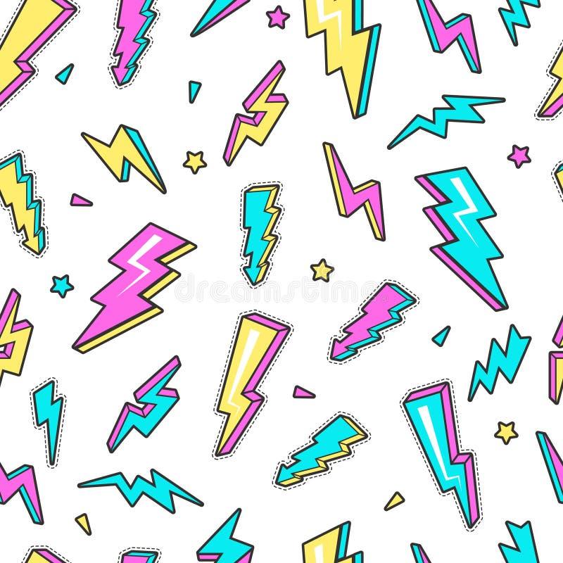 Modèle de coup de foudre Fond sans couture de vecteur instantané de l'électricité de symboles de tension d'avertissement de foudr illustration libre de droits