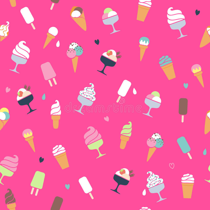 Modèle de crème glacée - fond rose illustration de vecteur