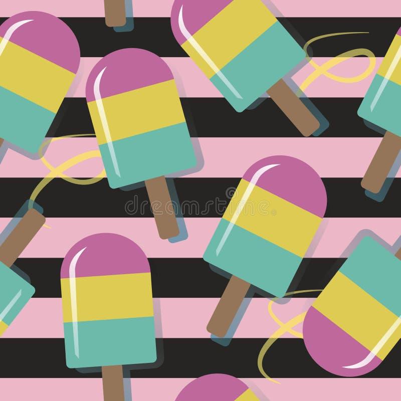 Modèle de crème glacée sur le fond lumineux dans rayé, illustration de vecteur