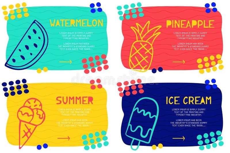 Modèle de débarquement abstrait réglé de page avec l'élément, le bloc des textes et la crème glacée différents de griffonnage, pa illustration stock
