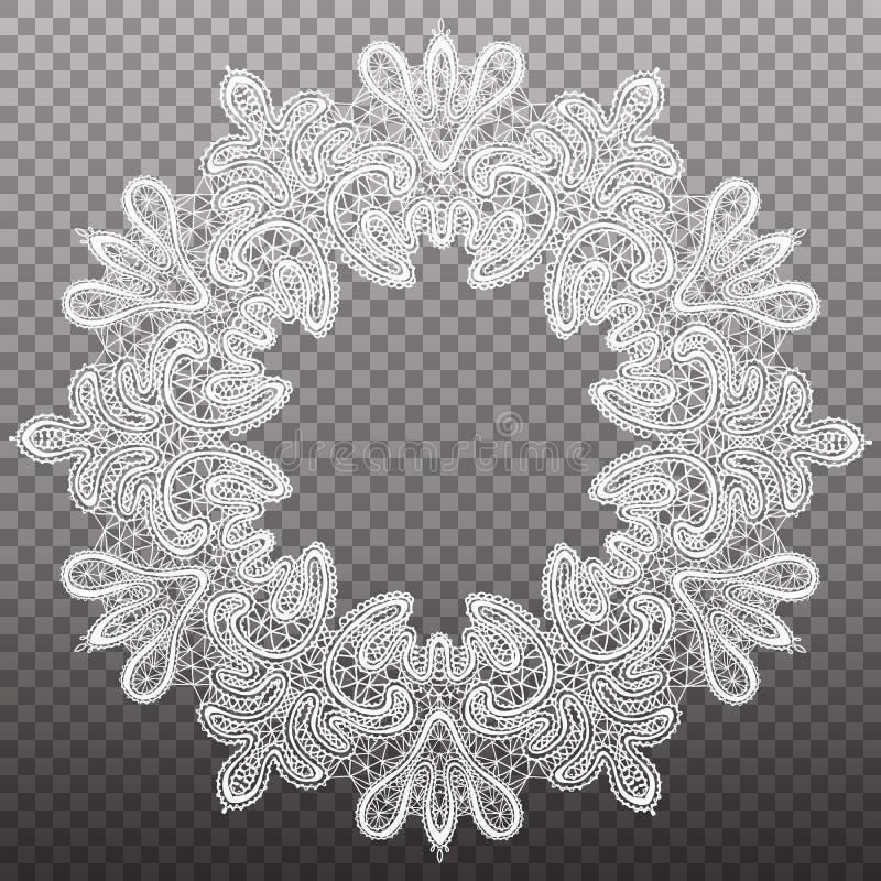 Modèle de dentelle cerclé par rond blanc Ornement de tapisserie d'isolement par vecteur illustration de vecteur