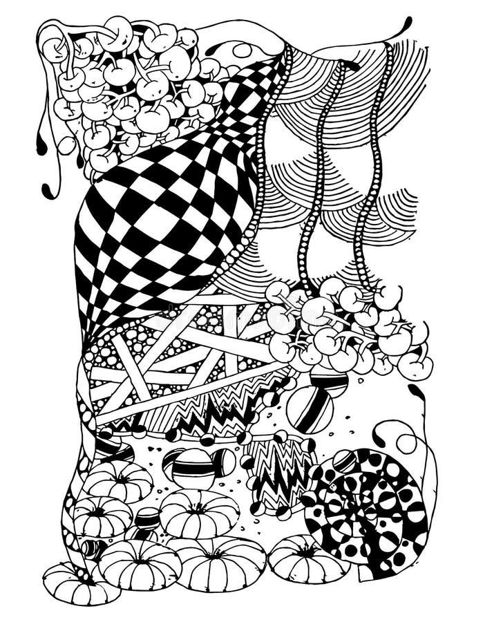 Modèle de dessin abstrait, ensemble aléatoire d'éléments rayés, abstraction noire et blanche de la disposition verticale, modèle  illustration libre de droits