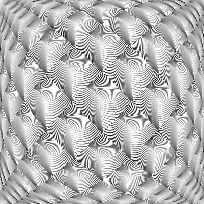 Modèle de diamant de grille déformé par monochrome de conception illustration libre de droits