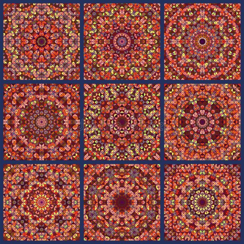 Modèle de Digital de fond indien ethnique de patchwork Papier peint sans joint illustration stock