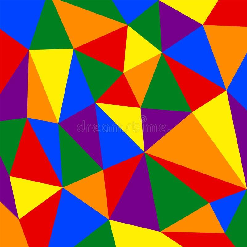 Modèle de drapeau de fierté d'arc-en-ciel sur le fond de polygone photo stock