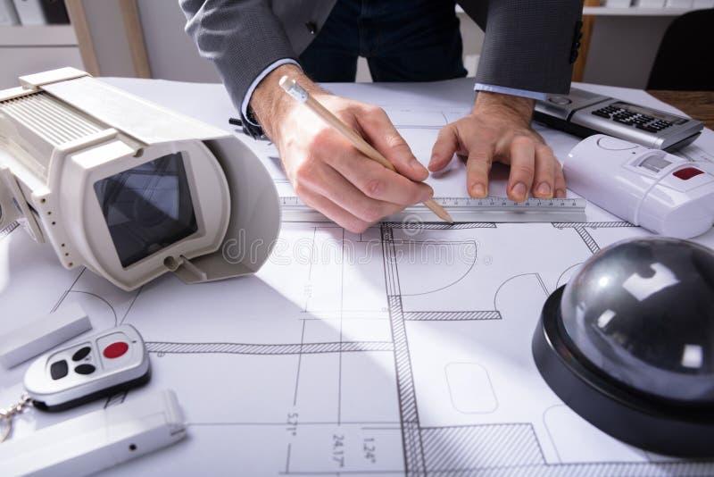 Modèle de Drawing Plan On d'architecte image stock