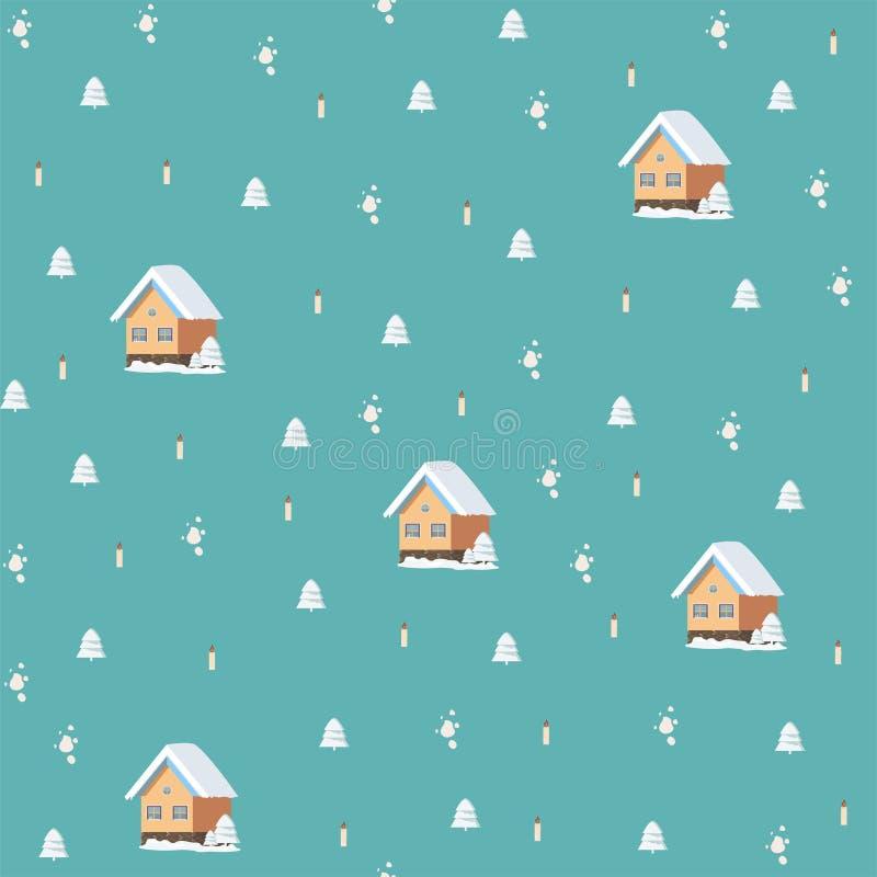 Modèle de fête sans couture d'isolement de nouvelle année avec une humeur mignonne de Noël illustration de vecteur
