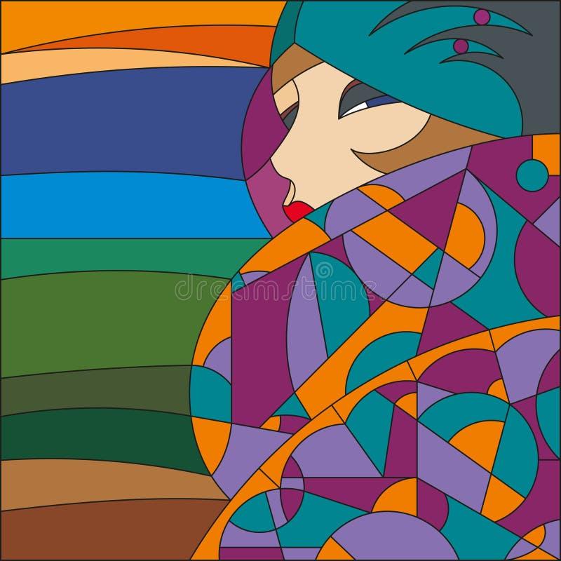 Modèle de femme à la mode aileron Modèle en verre souillé d'art déco illustration libre de droits