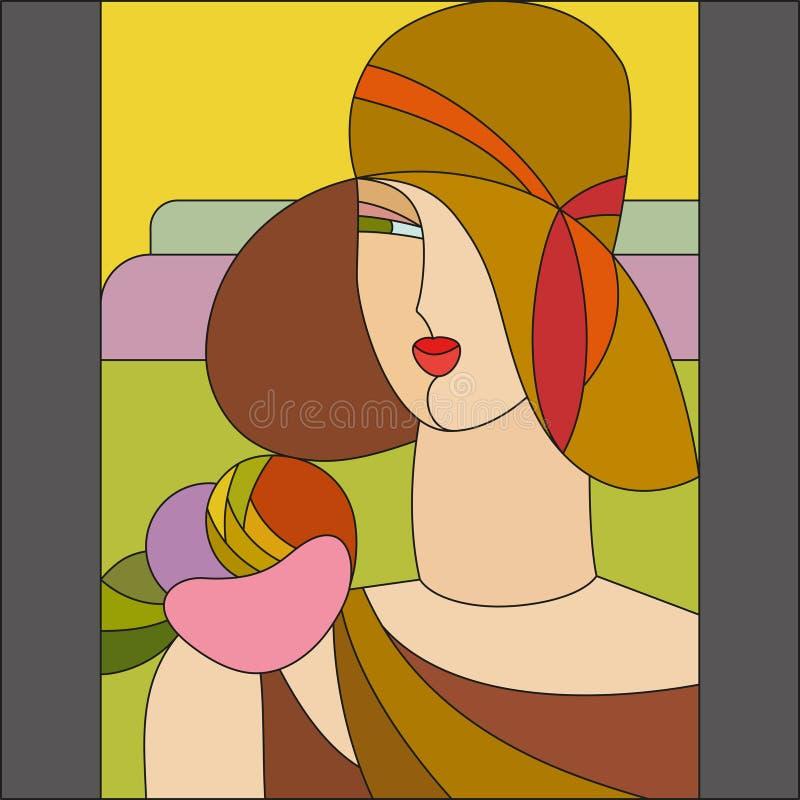 Modèle de femme à la mode Modèle en verre souillé d'art déco illustration libre de droits