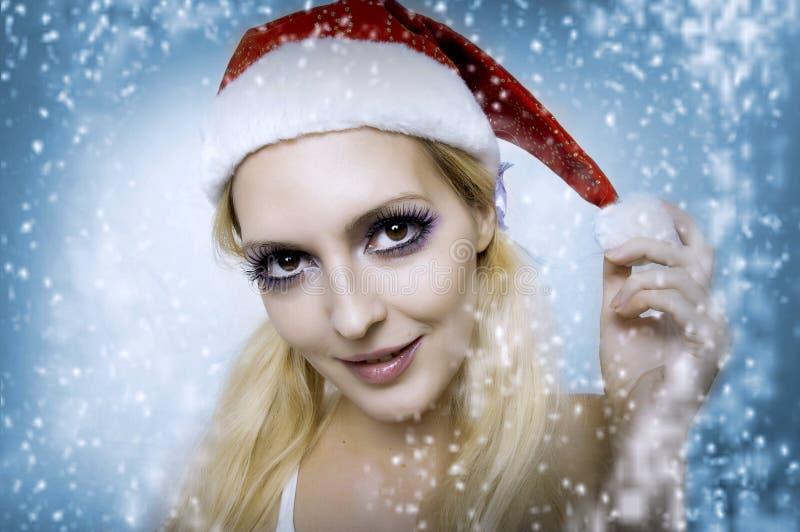 Modèle de femme. Renivellement lumineux de Noël images libres de droits