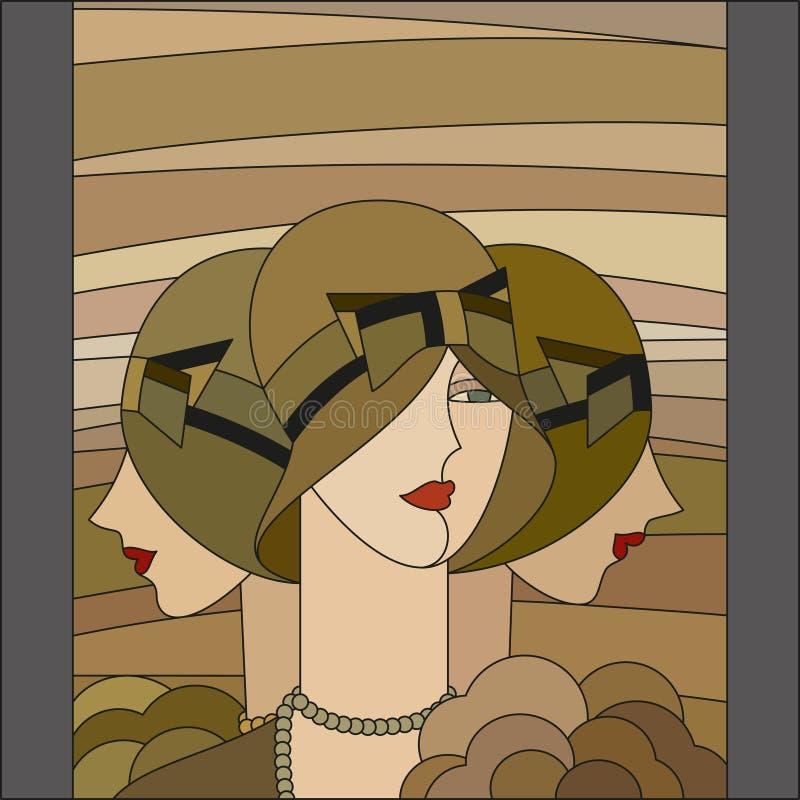 Modèle de femmes à la mode Trois ailerons Modèle en verre souillé d'art déco illustration stock