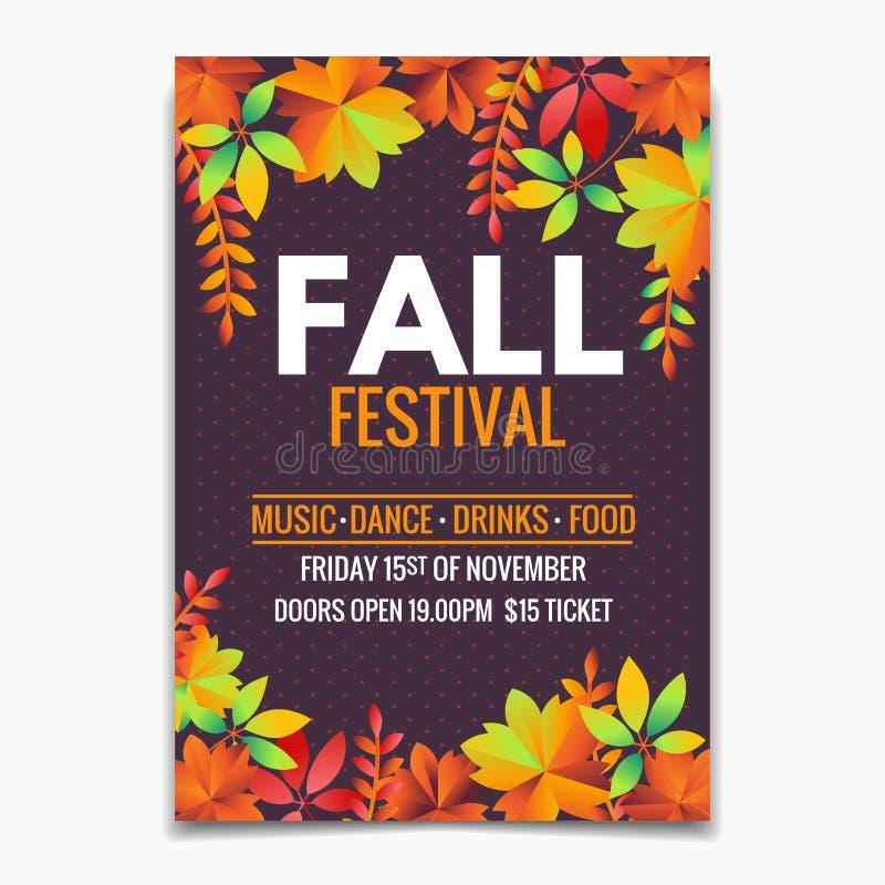 Modèle de feuillet ou d'affiche du festival d'automne. Lumineuses feuilles d'automne sur fond sombre photos stock