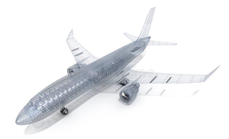 Modèle de fil d'avion, d'isolement sur le blanc illustration stock