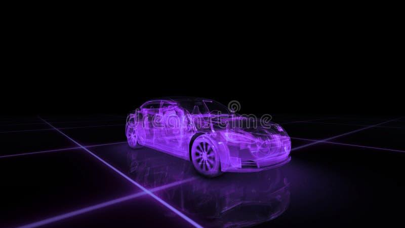 Modèle de fil de voiture de sport avec le fond au néon pourpre de noir d'ob illustration stock