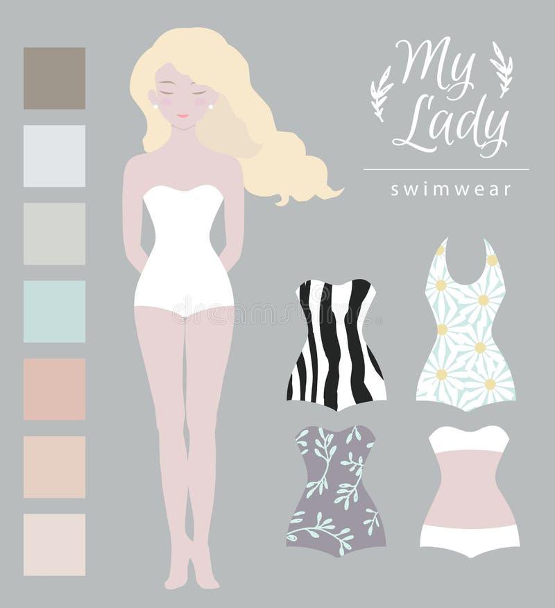 Modèle de fille, maquette de vêtements de bain Mignon habillez la poupée de papier, calibre de corps illustration libre de droits