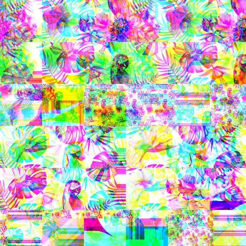 Modèle de fines herbes floral tropical coloré lumineux psychédélique abstrait d'été d'Hawaï des fleurs tropicales ketmie et des o illustration stock