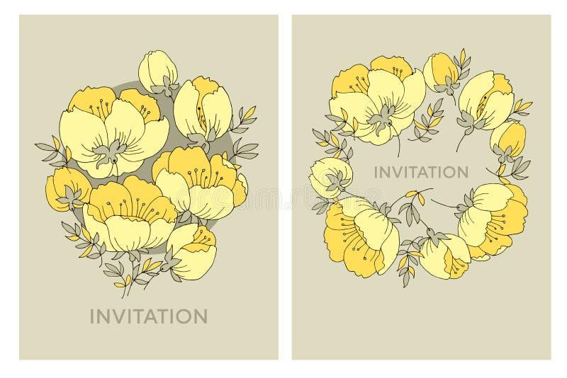 Modèle de fleur élégant tendre de rose de jaune Fleur de pommier illustration libre de droits