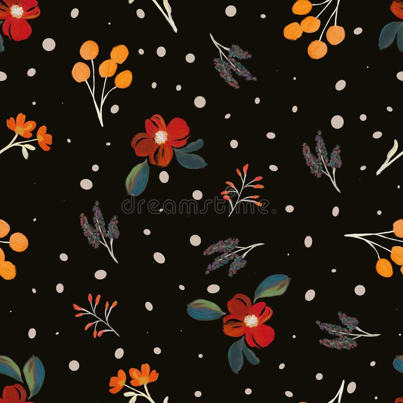 Modèle de fleur abstrait Aquarelle Conception textile illustration libre de droits