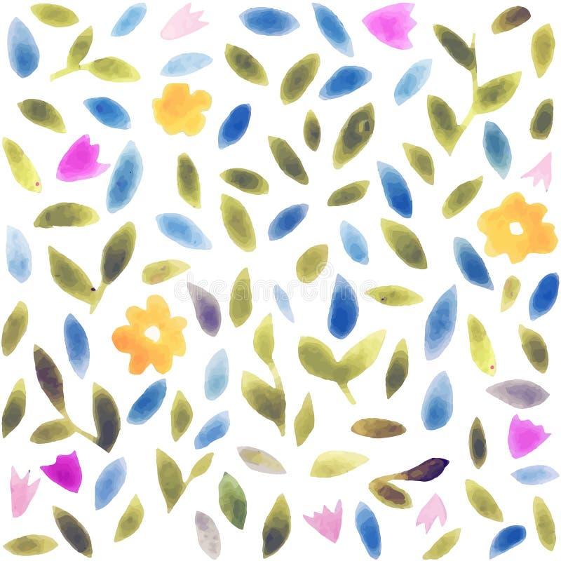Modèle de fleur abstrait d'aquarelle Modèle moderne avec de petites feuilles et fleurs illustration de vecteur