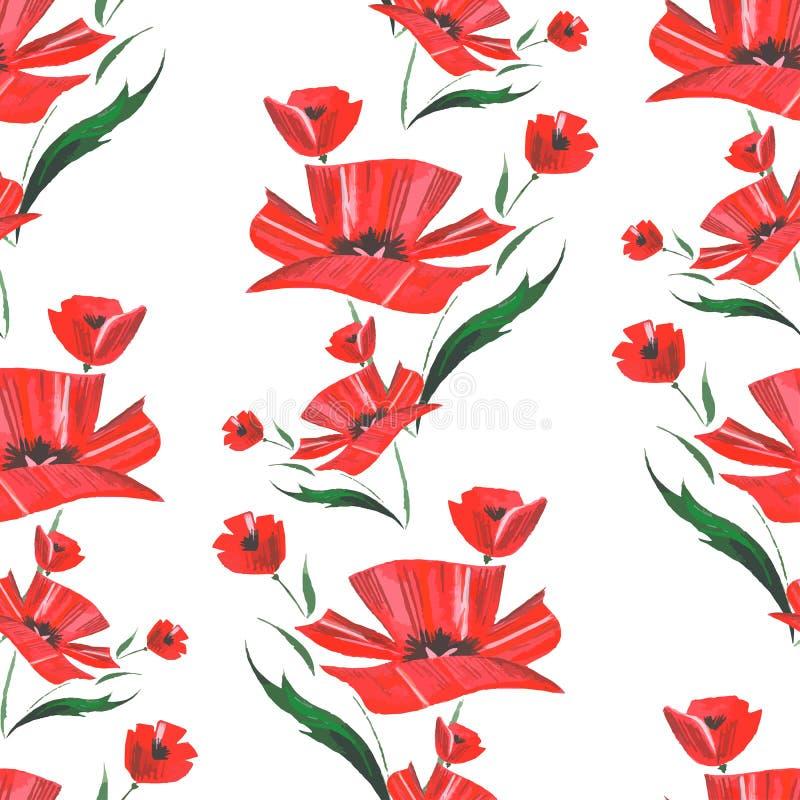 Modèle de fleur abstrait de pavot d'aquarelle Vecteur illustration de vecteur