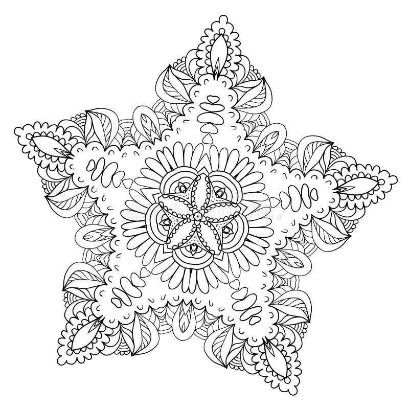 Modèle de fleur de Zentangle illustration de vecteur