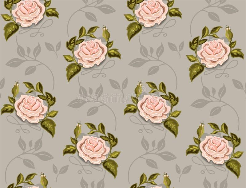 Modèle de fleur des roses dans un vecteur sur le fond noir illustration libre de droits
